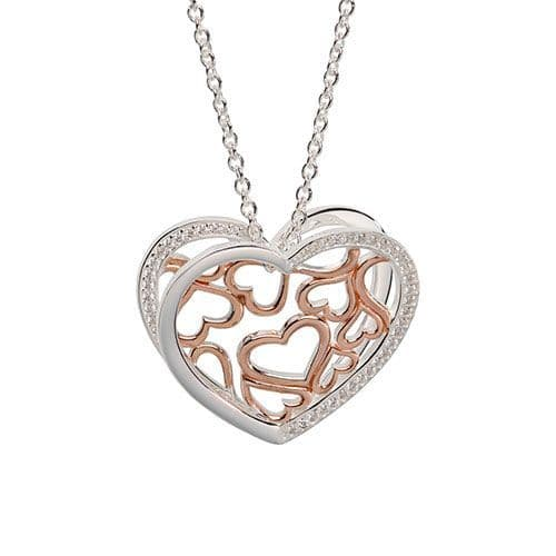 Sterling Silver Heart Shaped Sculptured Necklace