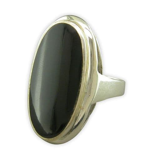 Sterling Silver Large Oval Ladies Black Onyx Ring