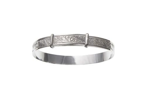 Sterling silver large size patterned expanding bangle