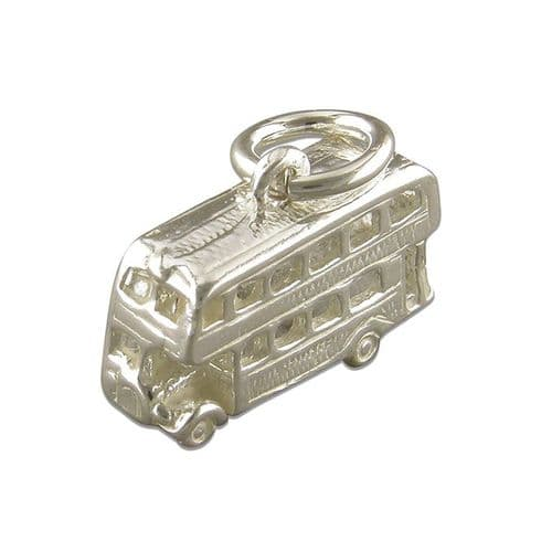 Sterling Silver London Double Decker Bus Solid Charm