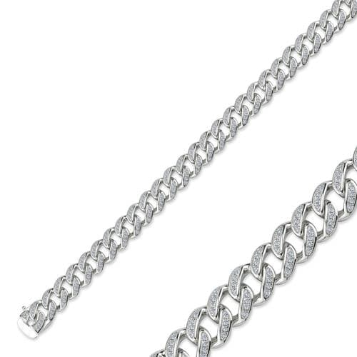 Sterling Silver Necklace Chain Cubic Zirconia Heavy Curb Link