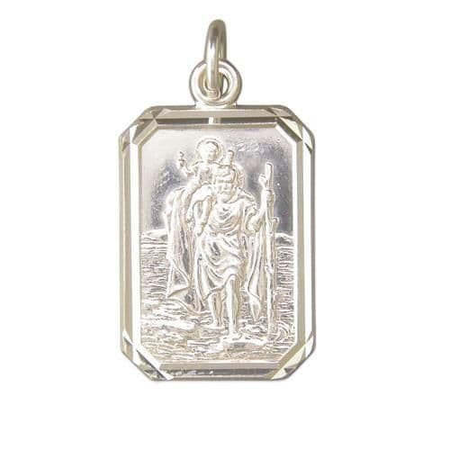 Sterling Silver Octagonal Rectangular St. Christopher Including Chain