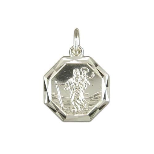 Sterling Silver Octagonal St. Christopher Including Chain 15 mm