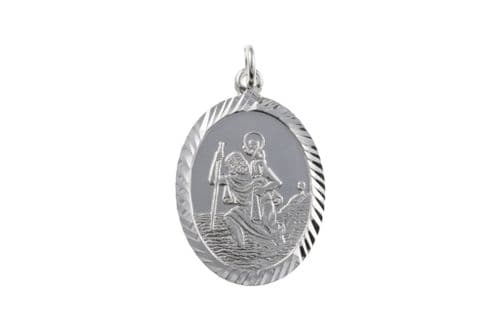 Sterling Silver Oval St. Christopher Including Chain Diamond Cut Edges