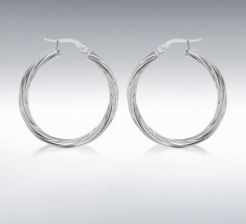 Sterling Silver Patterned Twisted Round Hoop Earrings 30 mm