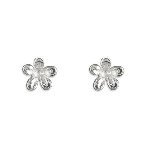 Sterling Silver Petal Flower Patterned Stud Earrings
