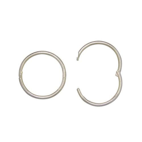 Sterling Silver Plain Round Sleeper Hoop Earrings 19 mm