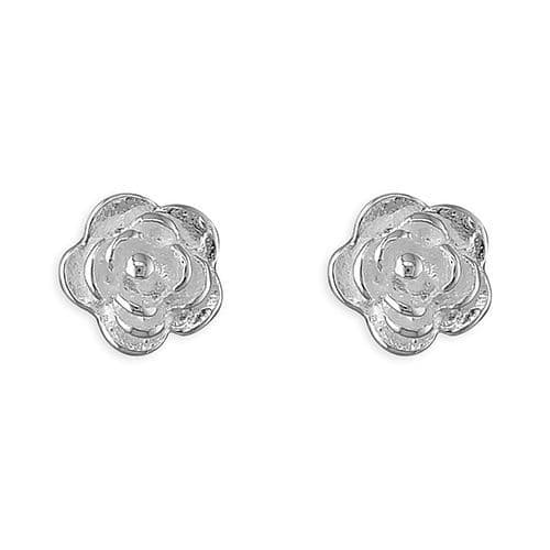 Sterling Silver Rose Flower Stud Earrings H1709