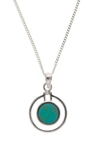 Sterling Silver Round Blue Turquoise Double Circle Necklace