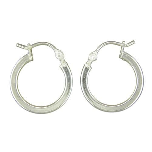 Sterling Silver Round Hoop Earrings 16 mm