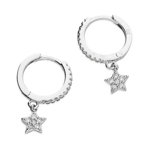 Sterling Silver Round Hoop Earrings With Stars 12 mm