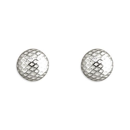 Sterling Silver Round Patterned Stud Earrings 7 mm