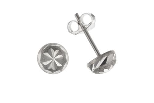 Sterling Silver Round Patterned Stud Earrings BP7023