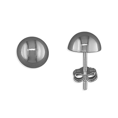 Sterling Silver Round Plain Domed Stud Earrings 6 mm