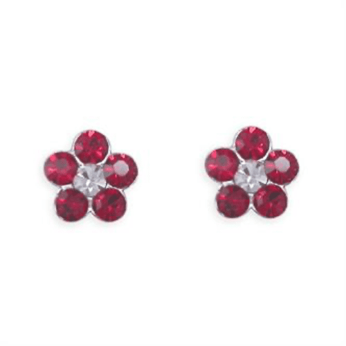 Sterling Silver Round Red And White Daisy Cluster Cubiz Zirconia Stud Earrings