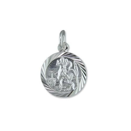 Sterling Silver Round St. Christopher Including Chain 15 mm