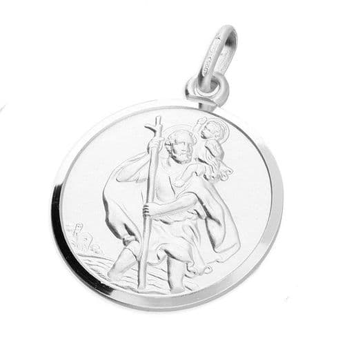 Sterling Silver Round St. Christopher Including Chain
