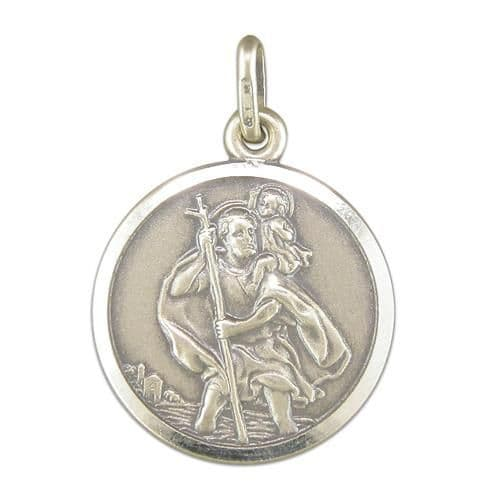 Sterling Silver Round St. Christopher Including Chain 18 mm
