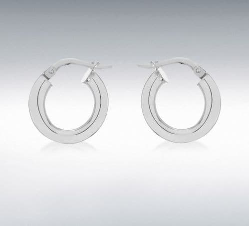 Sterling Silver Round Thick Hoop Earrings 16 mm