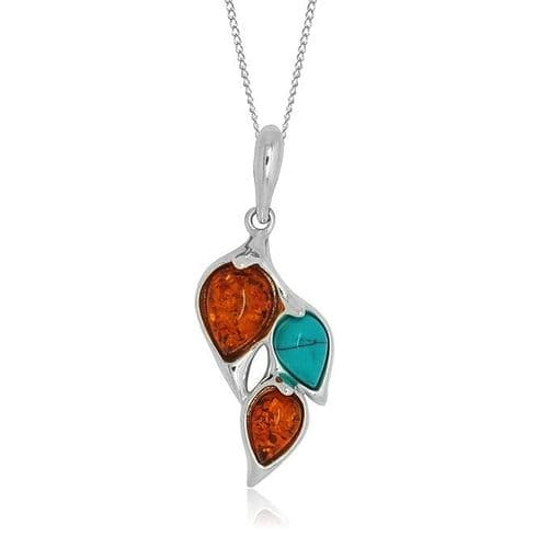Sterling Silver Turquoise And Amber Necklace