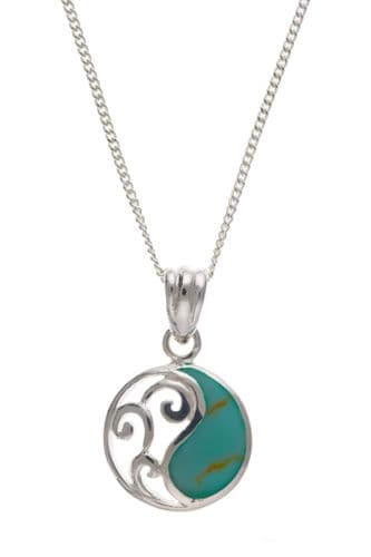 Sterling Silver Turquoise Round Necklace