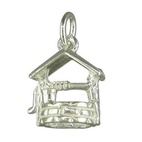 Sterling Silver Wishing Well Solid Charm