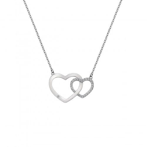 Striking Heart Interlocking Double Heart Bliss  Hot Diamonds Silver Necklace Pendant DN128