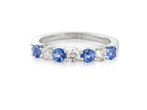 Tanzanite And Diamond Eternity Ring White Gold