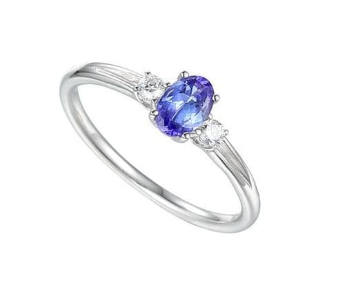 Tanzanite and diamond white gold oval ring