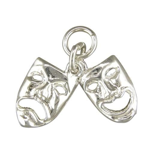 Theatre Masks Sterling Silver Charm