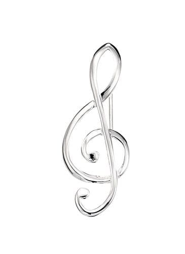 Treble Clef Musical Note Sterling Silver Brooch