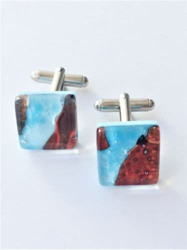 Turquoise Murano Glass Cufflinks