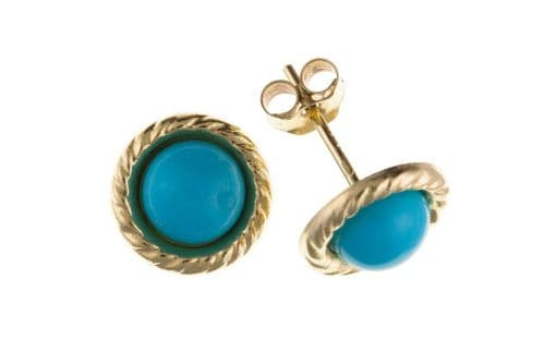 Turquoise Round Blue Yellow Gold Earrings AP0293