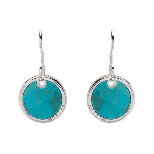 Turquoise Round Sterling Silver Drop Earrings Circle