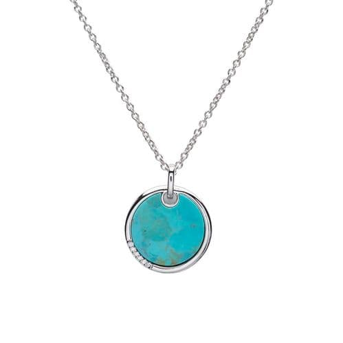 Turquoise Round Sterling Silver Necklace Circle