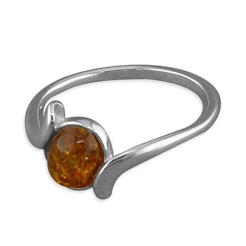 Twisted Sterling Silver Oval Orange Amber Ring