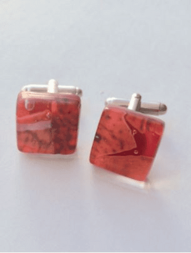 Vibrant Red Murano Glass Cufflinks