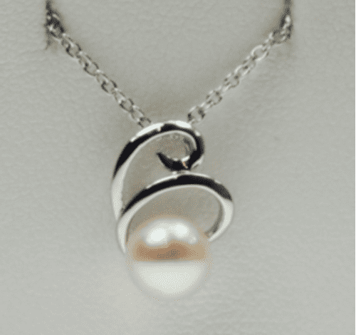White Gold Pearl Necklace Pendant