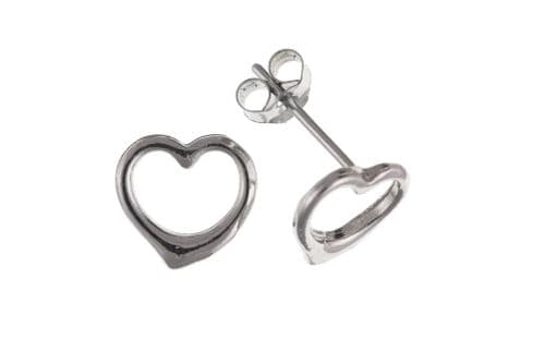 White Gold Pierced Heart Shaped Earrings