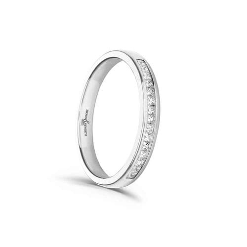 White Gold Square Princess Cut Eternity Ring Diamond Channel Set 20 Points