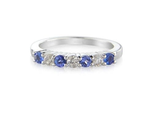 White Gold Tanzanite And Diamond Eternity Ring