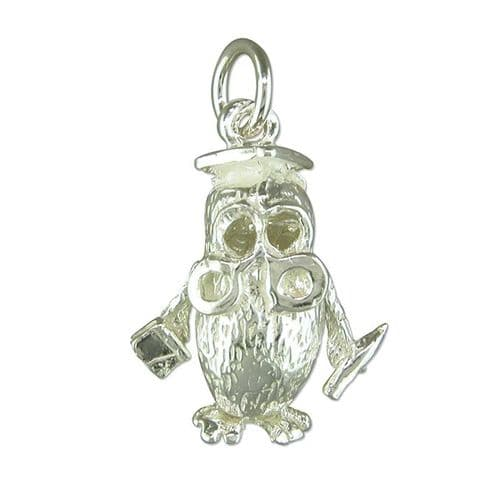 Wise Owl Charm Sterling Silver