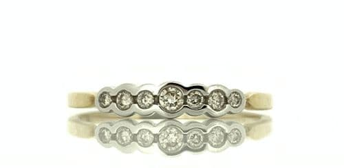 Yellow And White Gold Diamond Eternity Ring Smooth Rubbed Over Set 15 Points