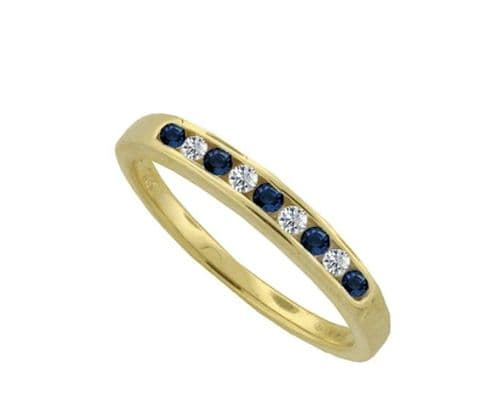 Yellow Gold Blue Sapphire And Diamond Eternity Ring Channel Set