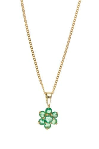 Yellow Gold Cluster Emerald Necklace With Chain AT0042