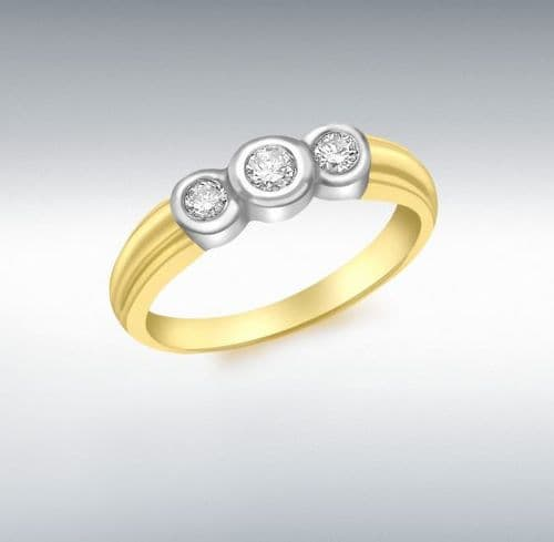 Yellow Gold Diamond Three Stone Trilogy Ring  Smooth Rubbed Over