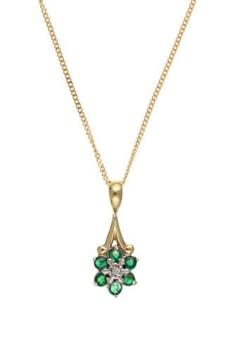 Yellow Gold Emerald And Diamond Necklace Pendant With Chain