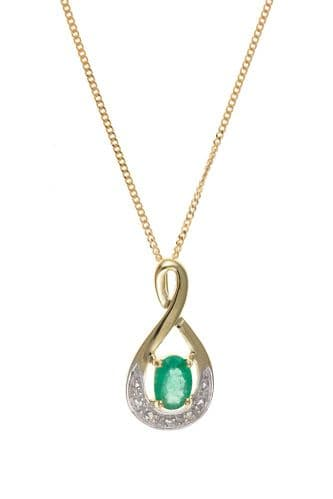 Yellow Gold Emerald and Diamond Necklace With Chain