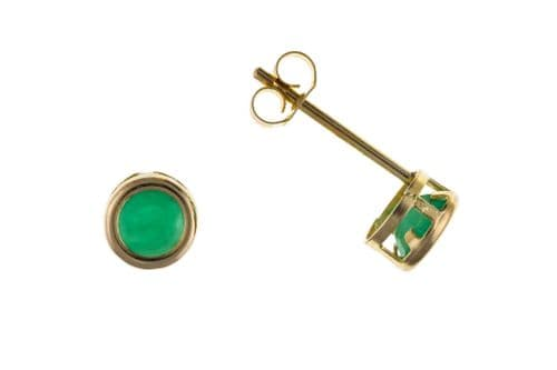 Yellow Gold Emerald Rubbed Over Stud Earrings