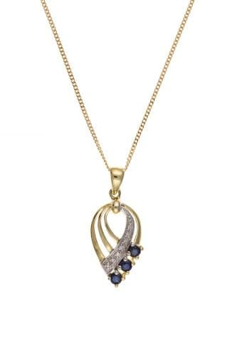 Yellow Gold Fancy Pierced Sapphire And Diamond Necklace